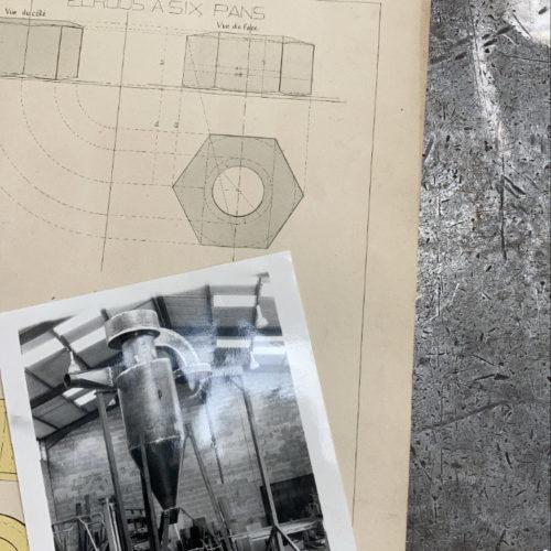 Plan de fabrication d'un four industriel, et photo d'archive de la chaudronnerie Marmonier à Nivolas Vermelle (Isère 38)