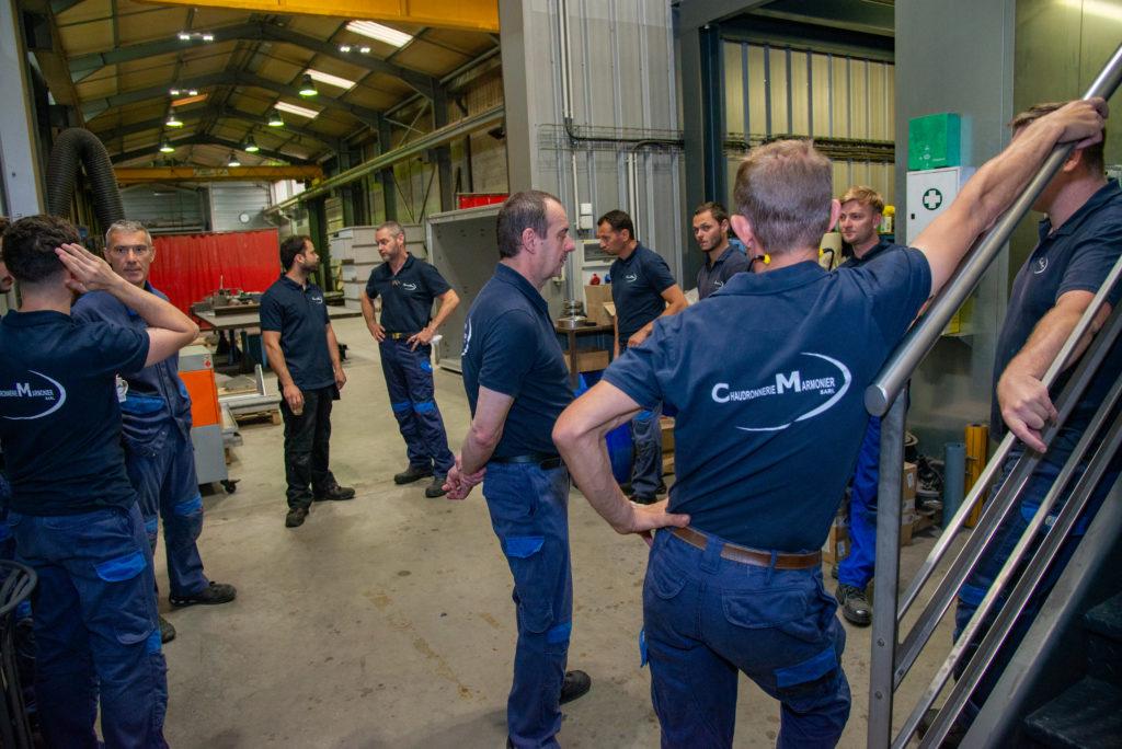 Collaborateurs de la chaudronnerie Marmonier spécialiste de la conception, la fabrication et la maintenance de fours industriels