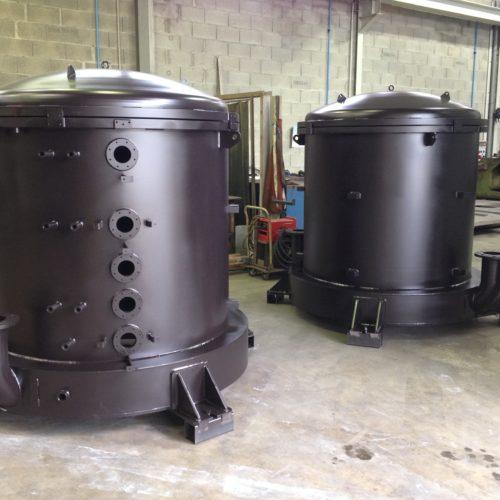 Image d'un four sous vide en acier, spécialité de la chaudronnerie industrielle Marmonier - région de Lyon (Rhône 69)