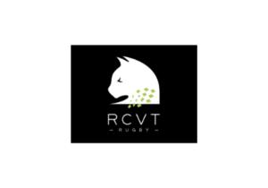 Logo blanc sur fond noir du RCVT Rubgy - Rugby Club des Vallons de la Tour dont la chaudronnerie Marmonier est le partenaire